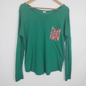 Anthropologie T.la green long sleeve floral pocket